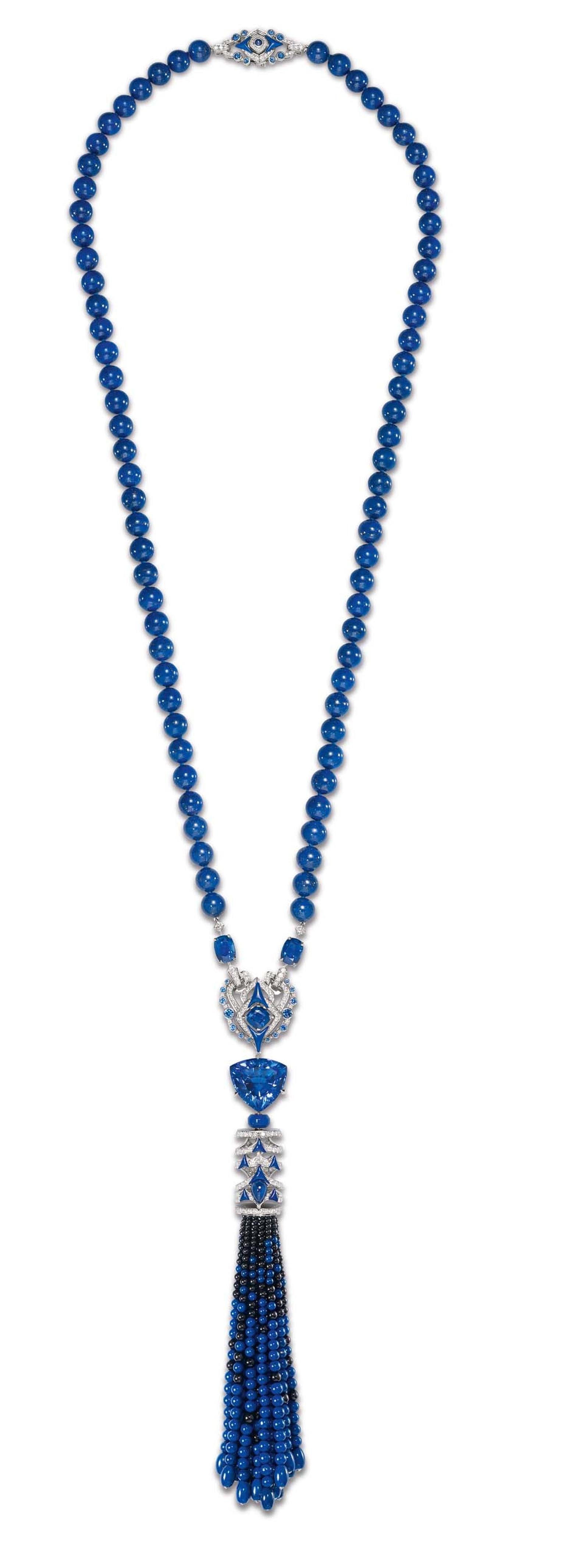 Chaumet Lumières d'Eau collection diamond necklace embellished with a pompom of graded lapis lazuli and black spinels.