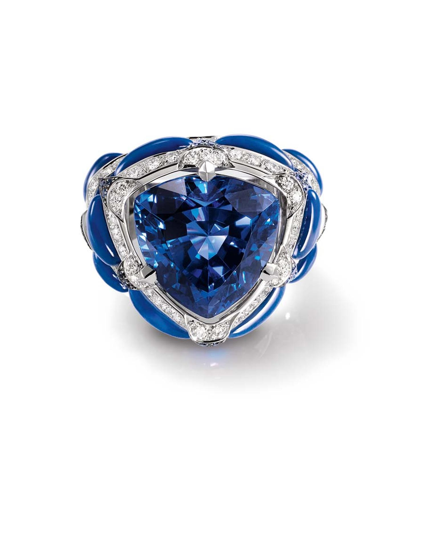 Chaumet Lumières d'Eau collection ring featuring diamonds, tanzanite and sculpted lapis lazuli.