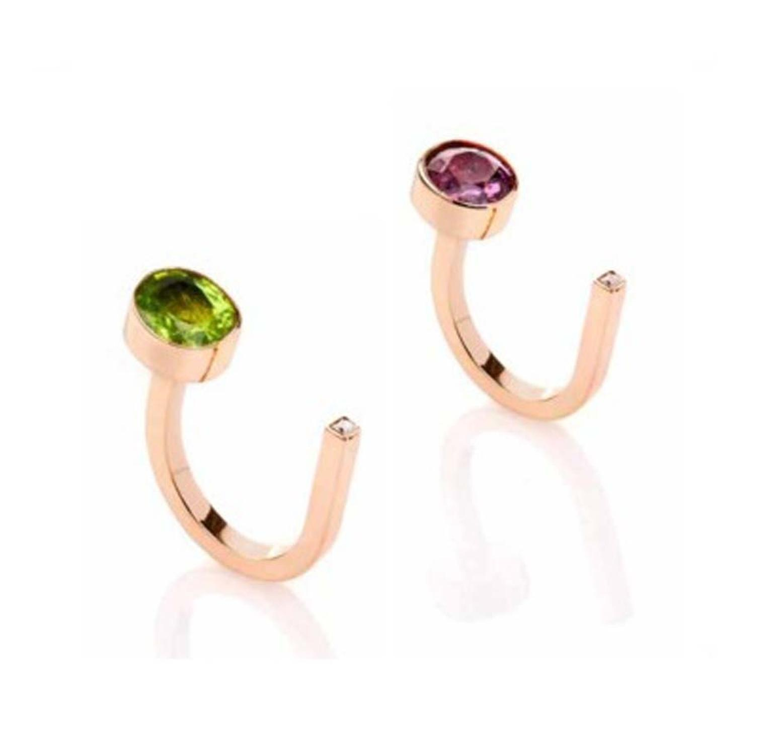 MyriamSOS Side Stone ring in rose gold with a peridot or princess-cut sapphire.