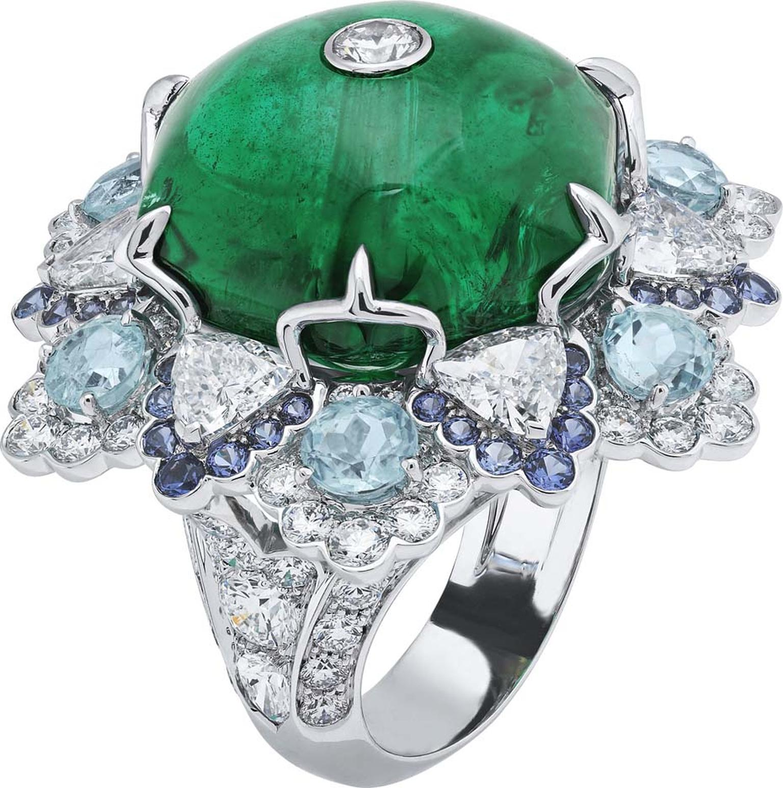 Van Cleef & Arpels Peau d'Ane Childhood Castle collection Love, Love ring in white gold with a 28ct central emerald cabochon, round, pear and trillion-cut diamonds, Paraiba tourmalines and purple spinels.