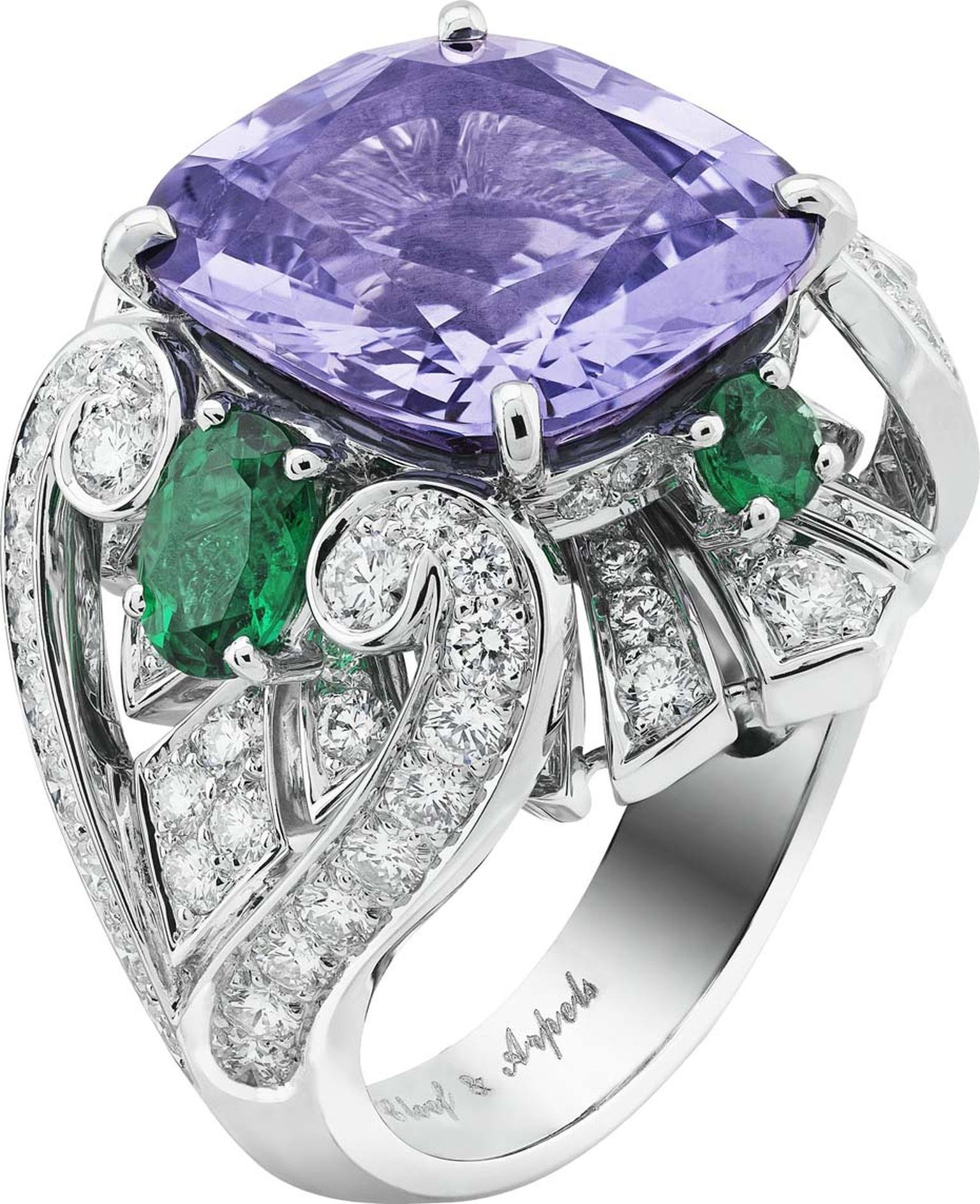 Van Cleef & Arpels Peau d'Ane white gold The Enchanted Forest collection Flower Night ring featuring diamonds, oval and round cut emeralds and a central 10.45ct  purple cushion cut spinel.
