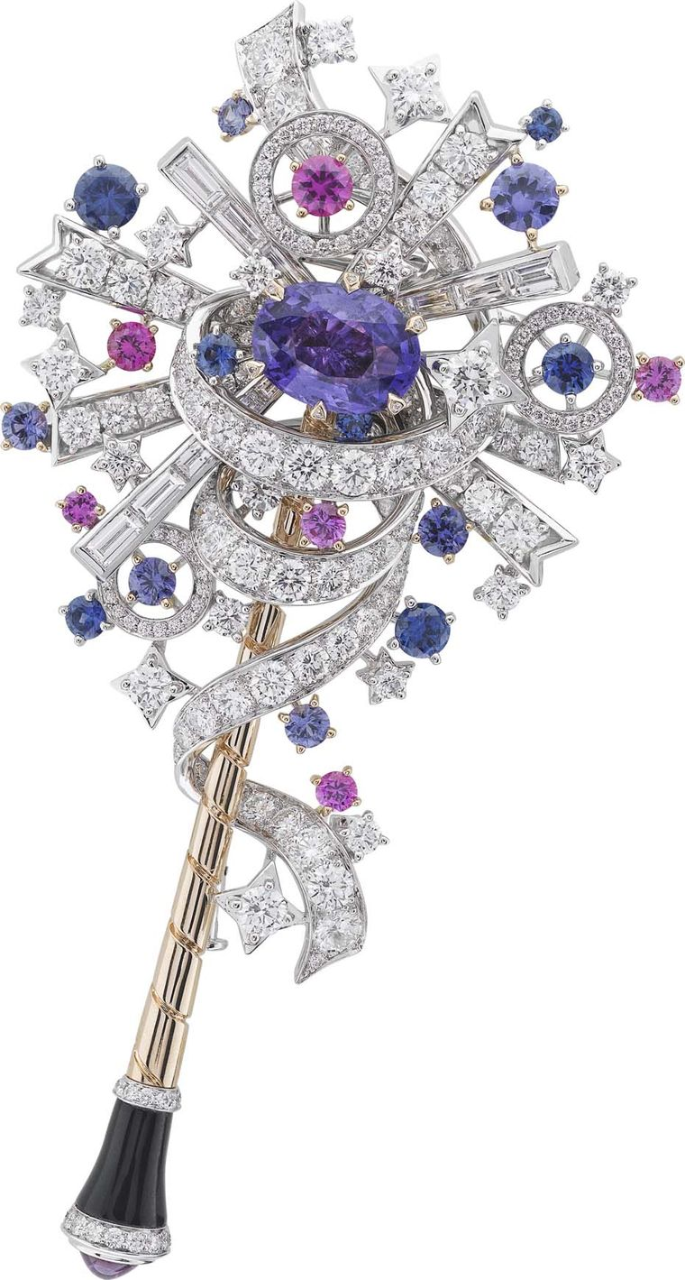 Van Cleef & Arpels Peau d'Ane Enchanted Forest collection wand in white and pink gold with a central purple sapphire, round diamonds, baguette-cut pink, purple and blue sapphires and onyx.