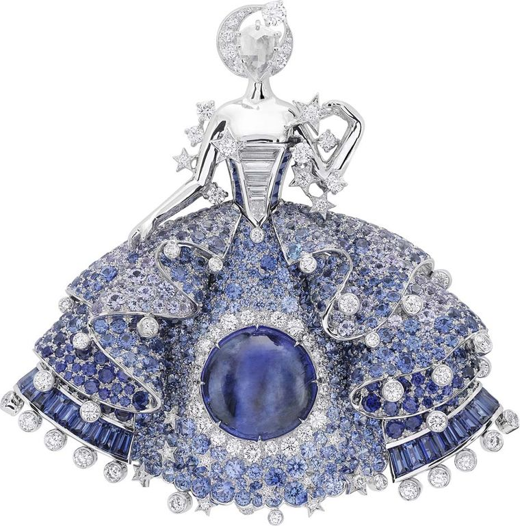 Van Cleef & Arpels Peau d'Ane Enchanted Forest collection Fairy clip in white gold with a central 11ct blue cabochon tanzanite, round, baguette and pear-cut diamonds, round and baguette-cut sapphires, blue spinel and blue and violet tanzanites.