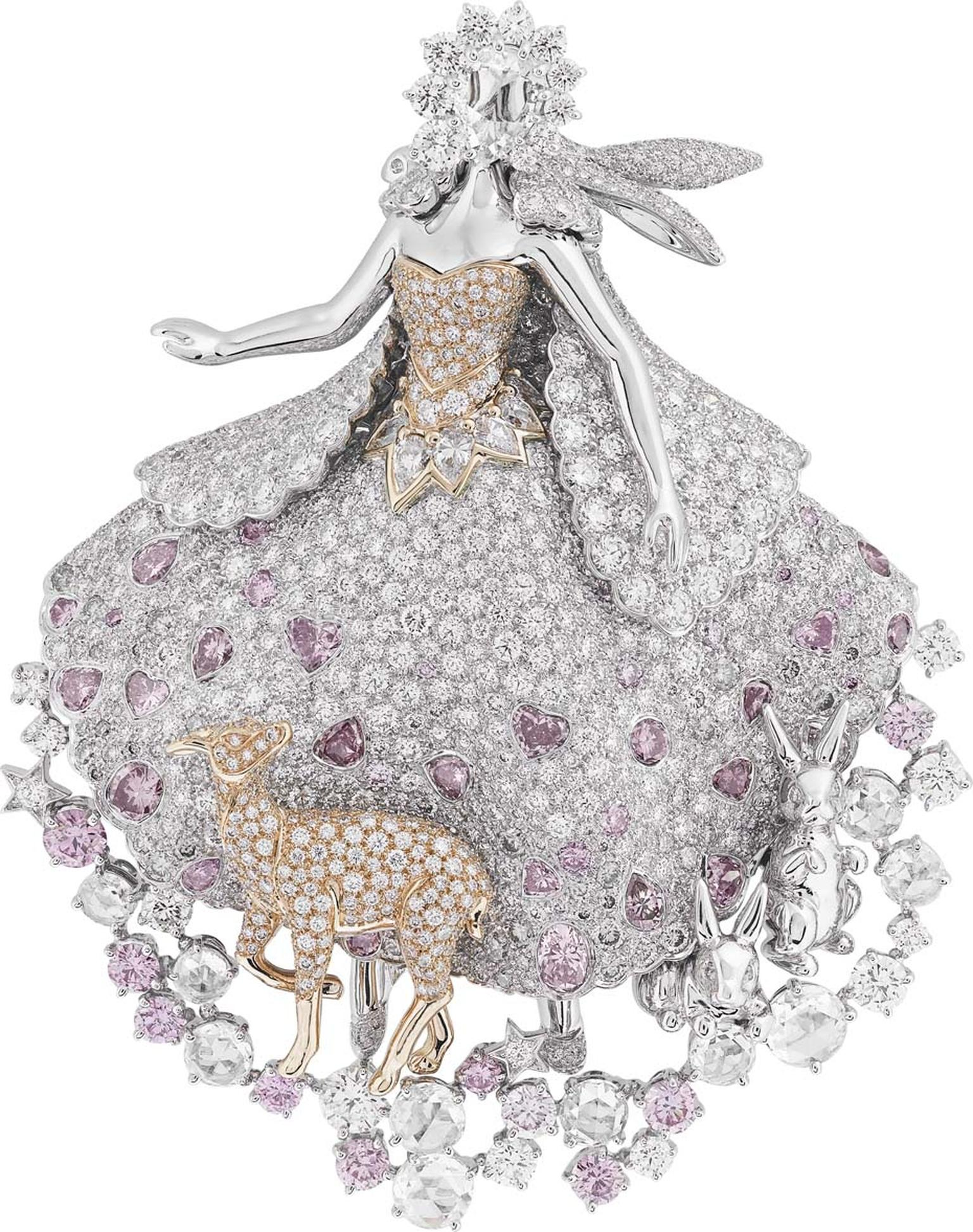 Van Cleef & Arpels Peau d'Ane Enchanted Forest collection Donkey Skin clip in white gold with round, square and pear-cut white, pink and grey diamonds.