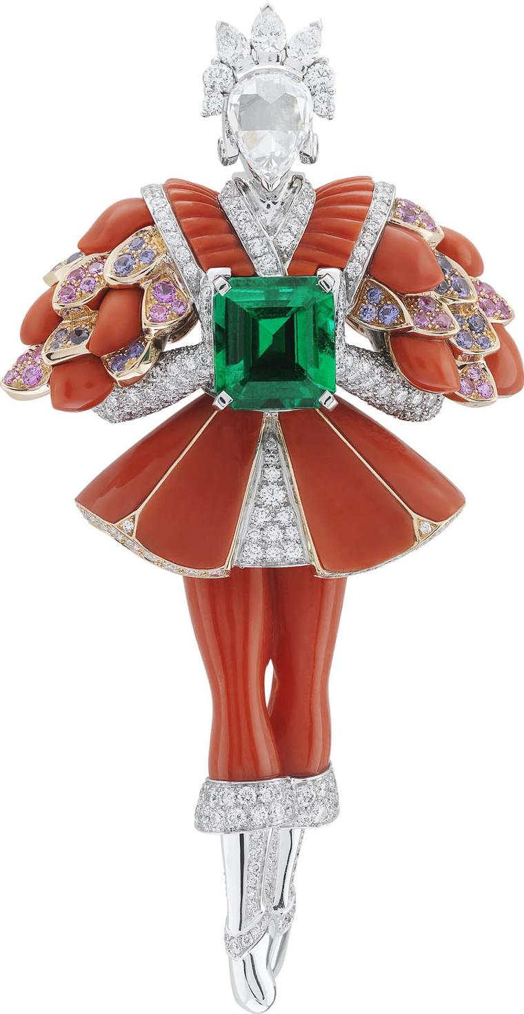 Van Cleef & Arpels Peau d'Ane Happy Marriage collection Red Prince clip in white and pink gold with a central emerald cut emerald, pink and purple sapphires, red coral and white and pink diamonds.