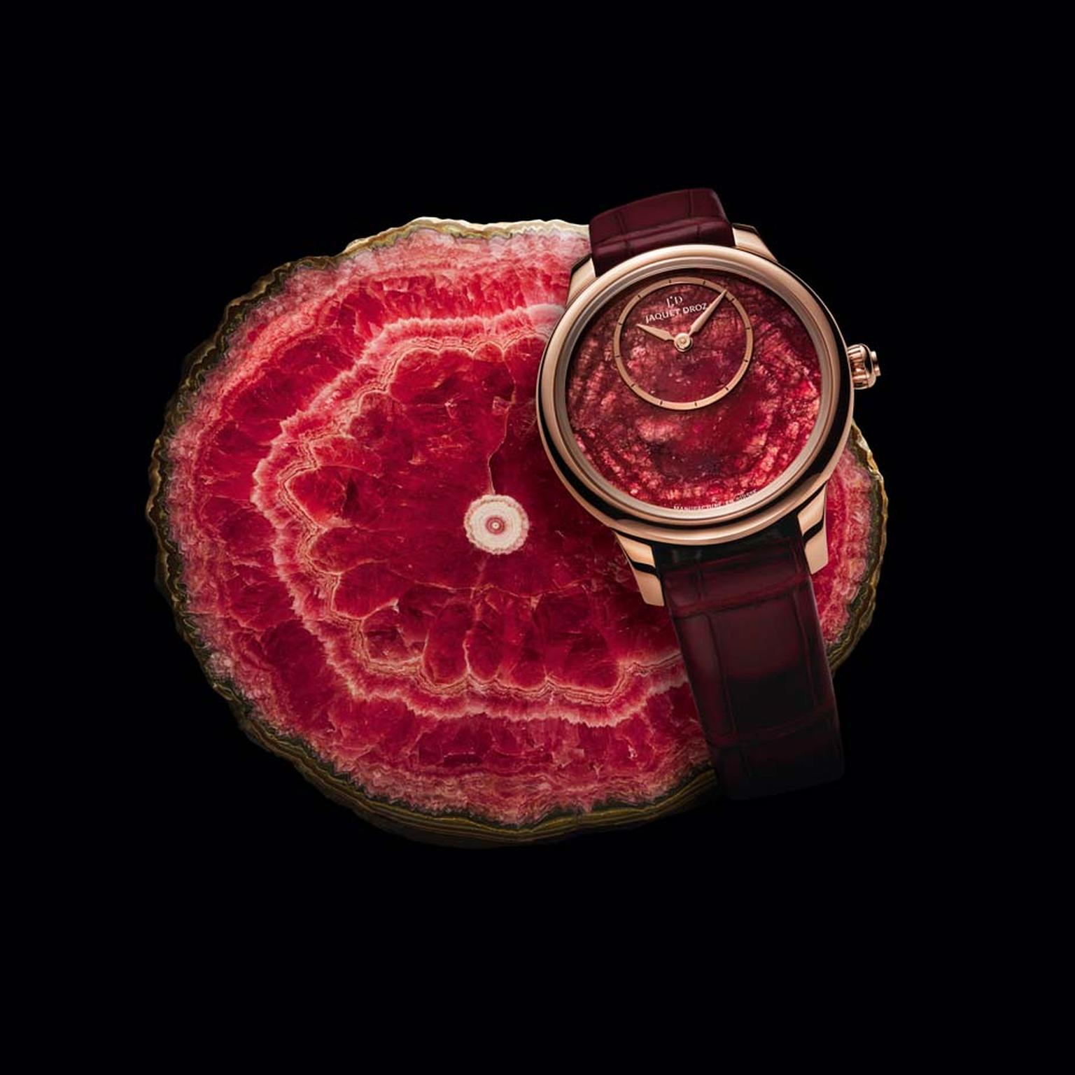 Jaquet Droz Minerals Collection Petite Heure Minute Ruby Heart watch.