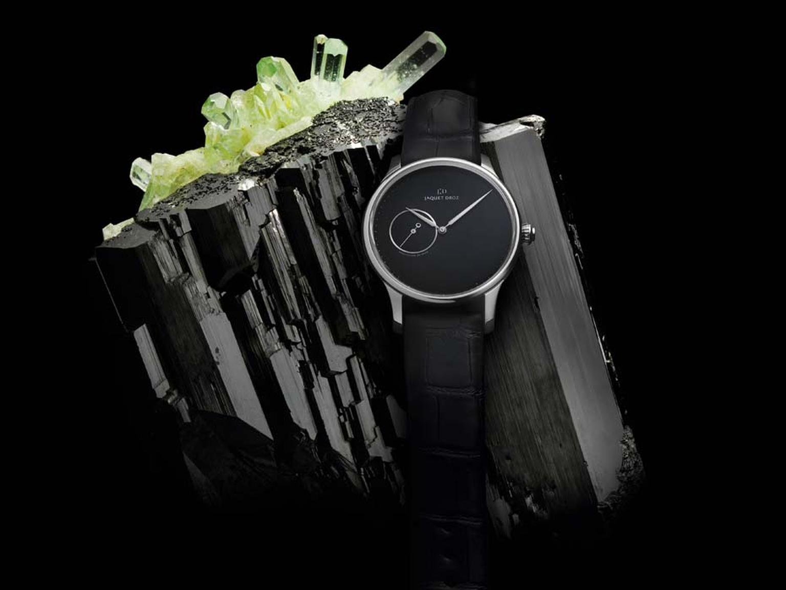 Jaquet Droz Minerals collection Grande Heure Minute watch with an onyx dial.