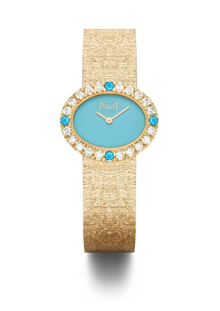Extremely Piaget collection watch featuring an oval turquoise dial punctuated with diamonds and four natural turquoise cabochons alongside a textured gold bracelet.