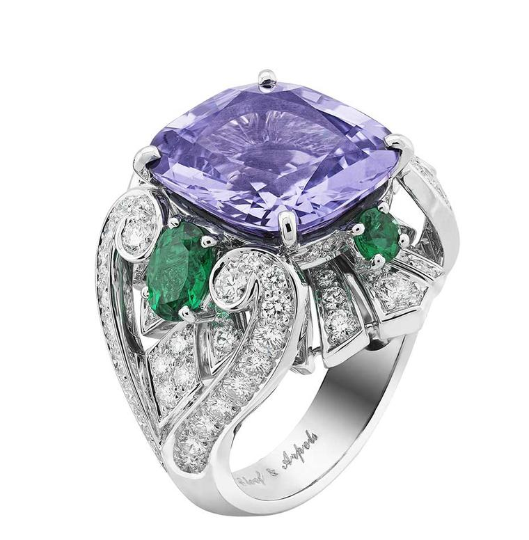 Van Cleef & Arpels Peau d'Ane The Enchanted Forest collection Flower Night ring in white gold with a central 10.45ct purple cushion cut spinel, diamonds and oval and round-cut emeralds.