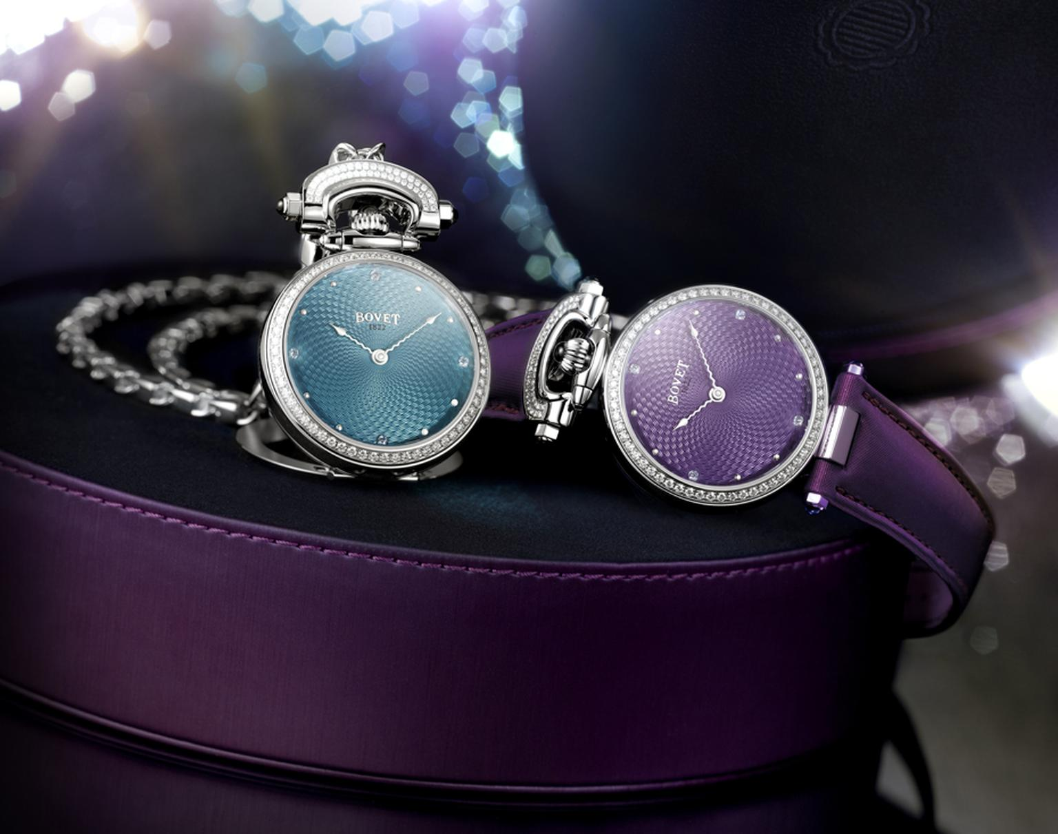 Bovet's Amadeo Fleurier 36 Miss Audrey watches, with their magnificent guilloché lacquered dials, are the lightest in the Fleurier collection, which allows them to be worn comfortably as a pendant.