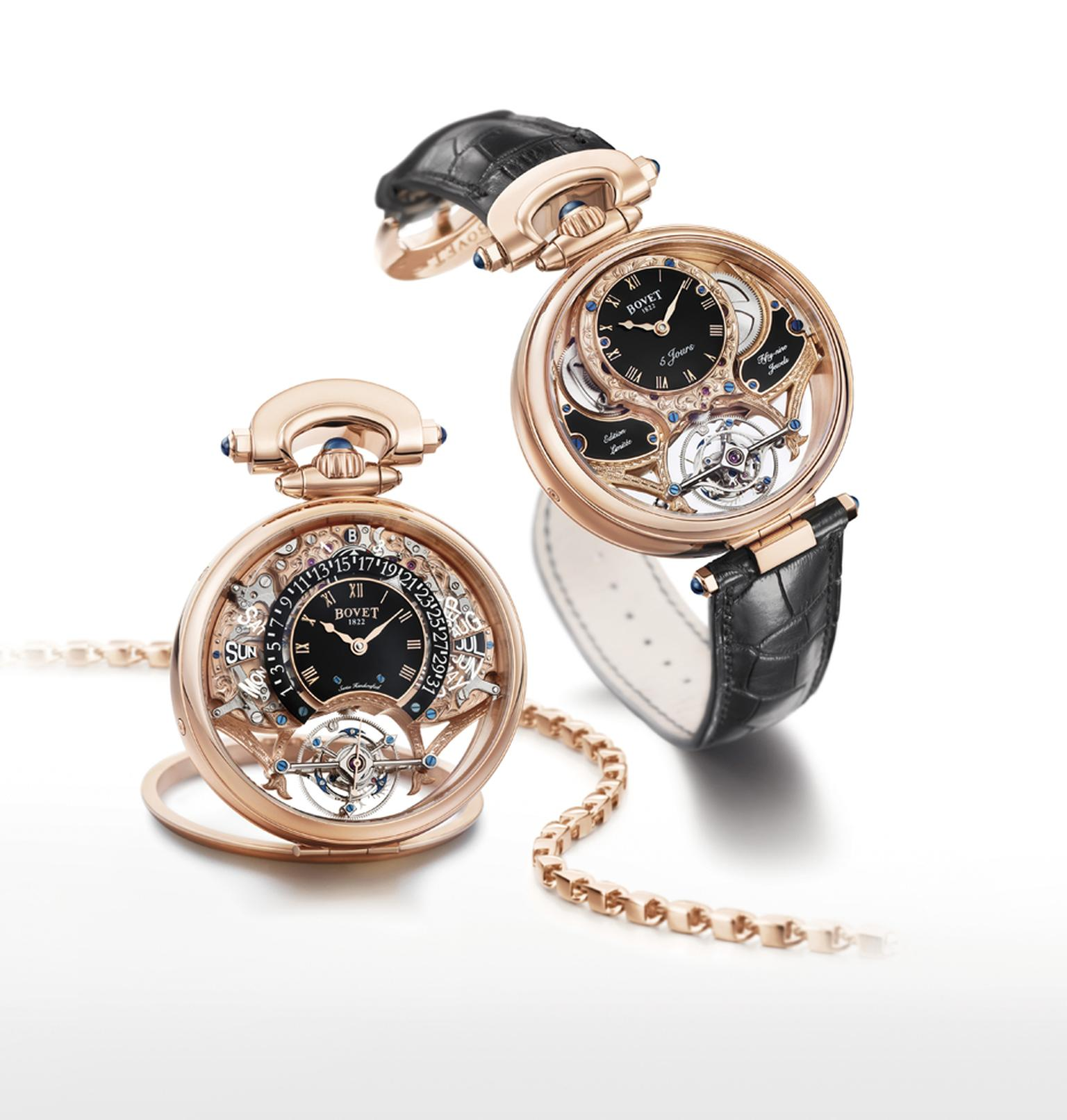 Bovet's new Amadeo® Fleurier Tourbillon Virtuoso III features a Grande Complication tourbillon movement with a five-day power reserve and retrograde perpetual calendar.