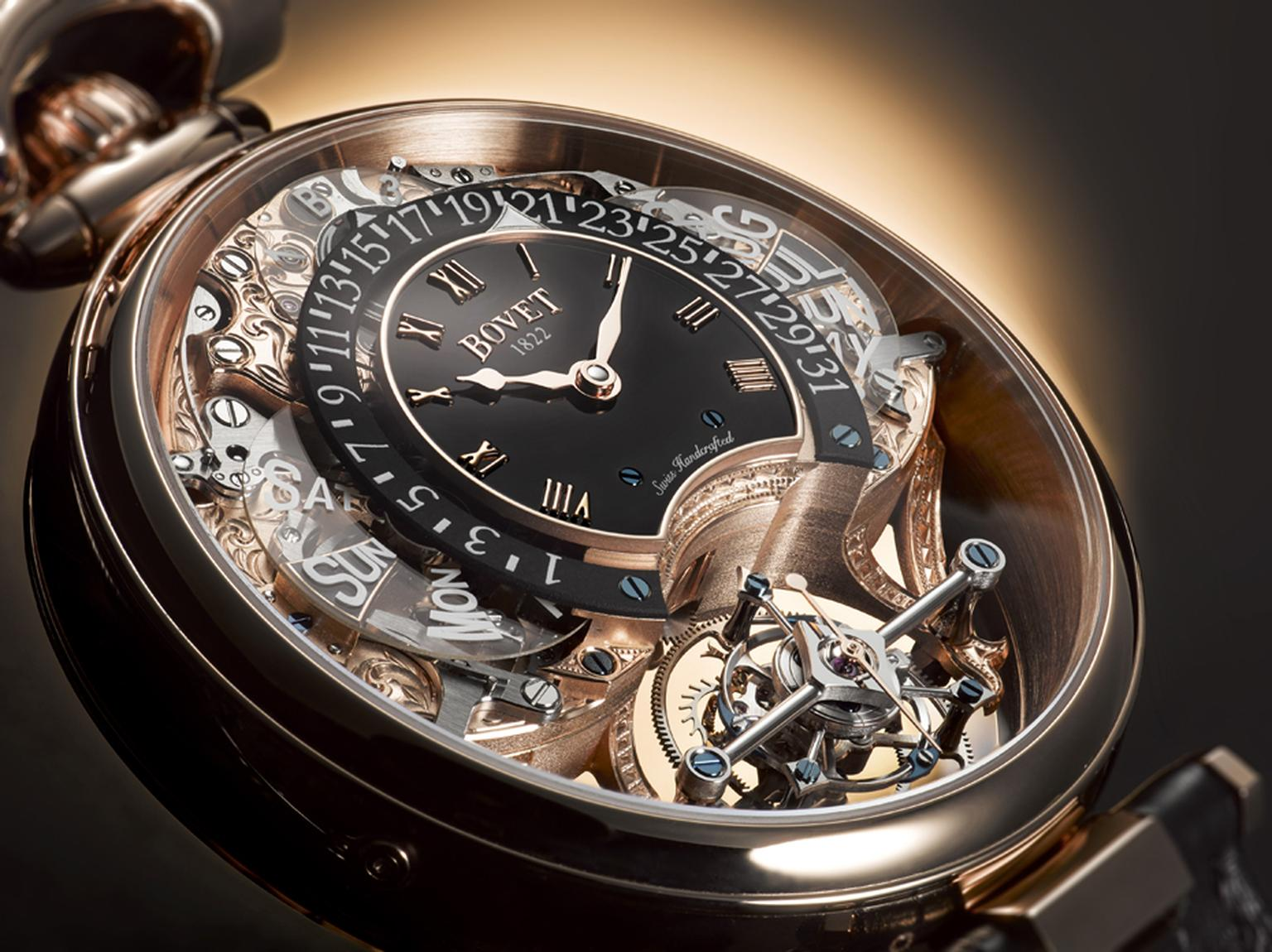 Thanks to Bovet's patented Amadeo® system, the Amadeo® Fleurier Tourbillon Virtuoso III is able to transform into a pocket watch, a wristwatch, a pendant and a table clock by simply depressing the