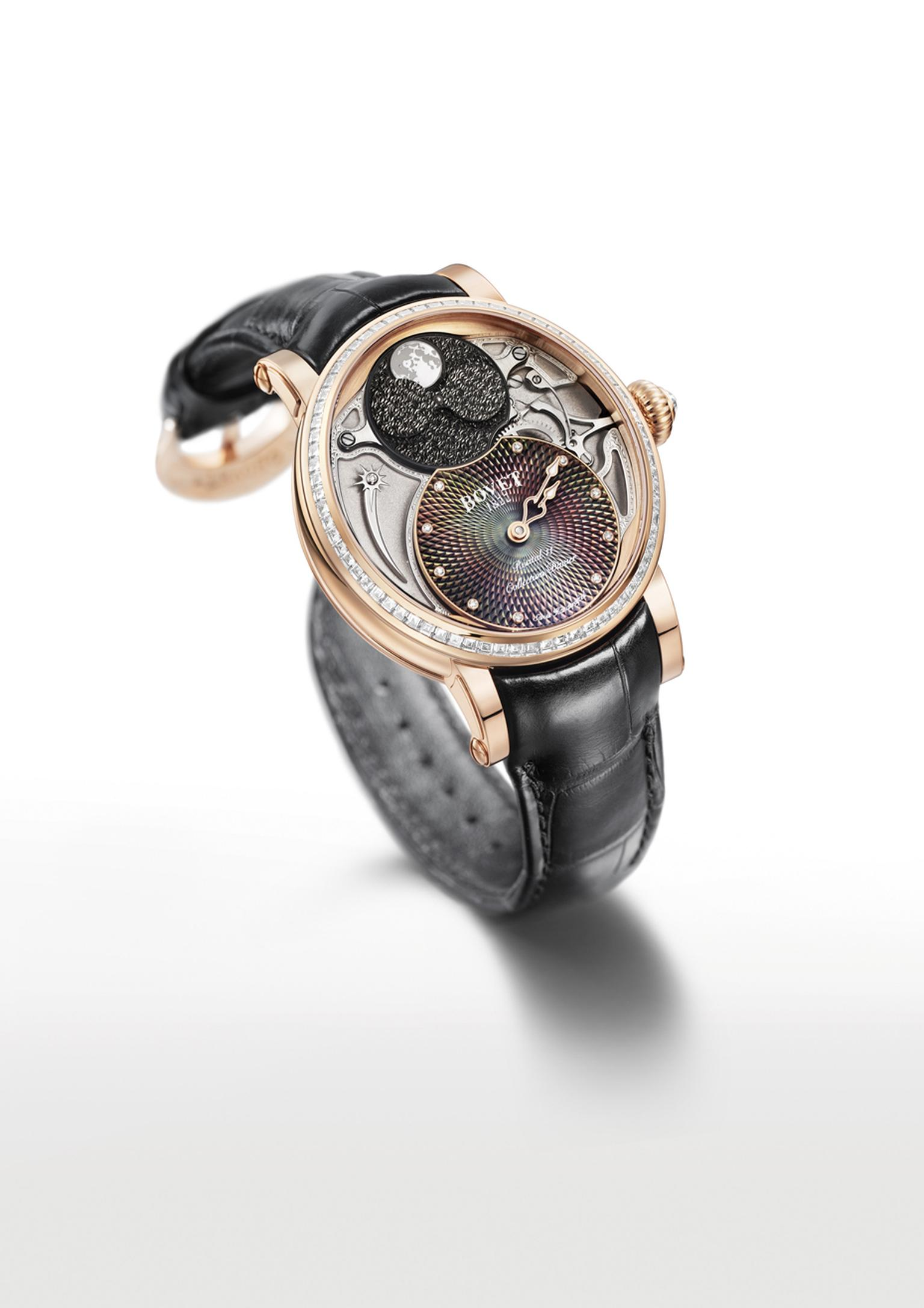 Bovet's Recital 11 Miss Alexandra watch features unusual-shaped hour and minute hands that form a heart once an hour when they meet.