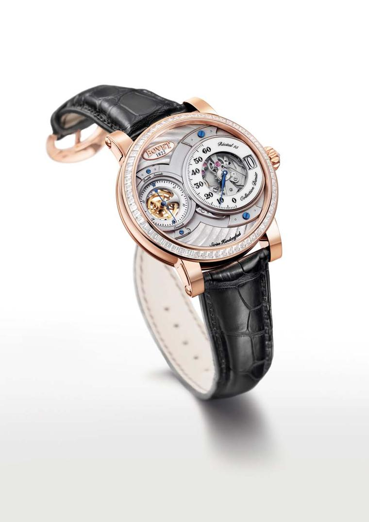 Also from the new 2014 collection is the Bovet Recital 15 Collection Dimier watch, which combines jumping hours and retrograde minutes.