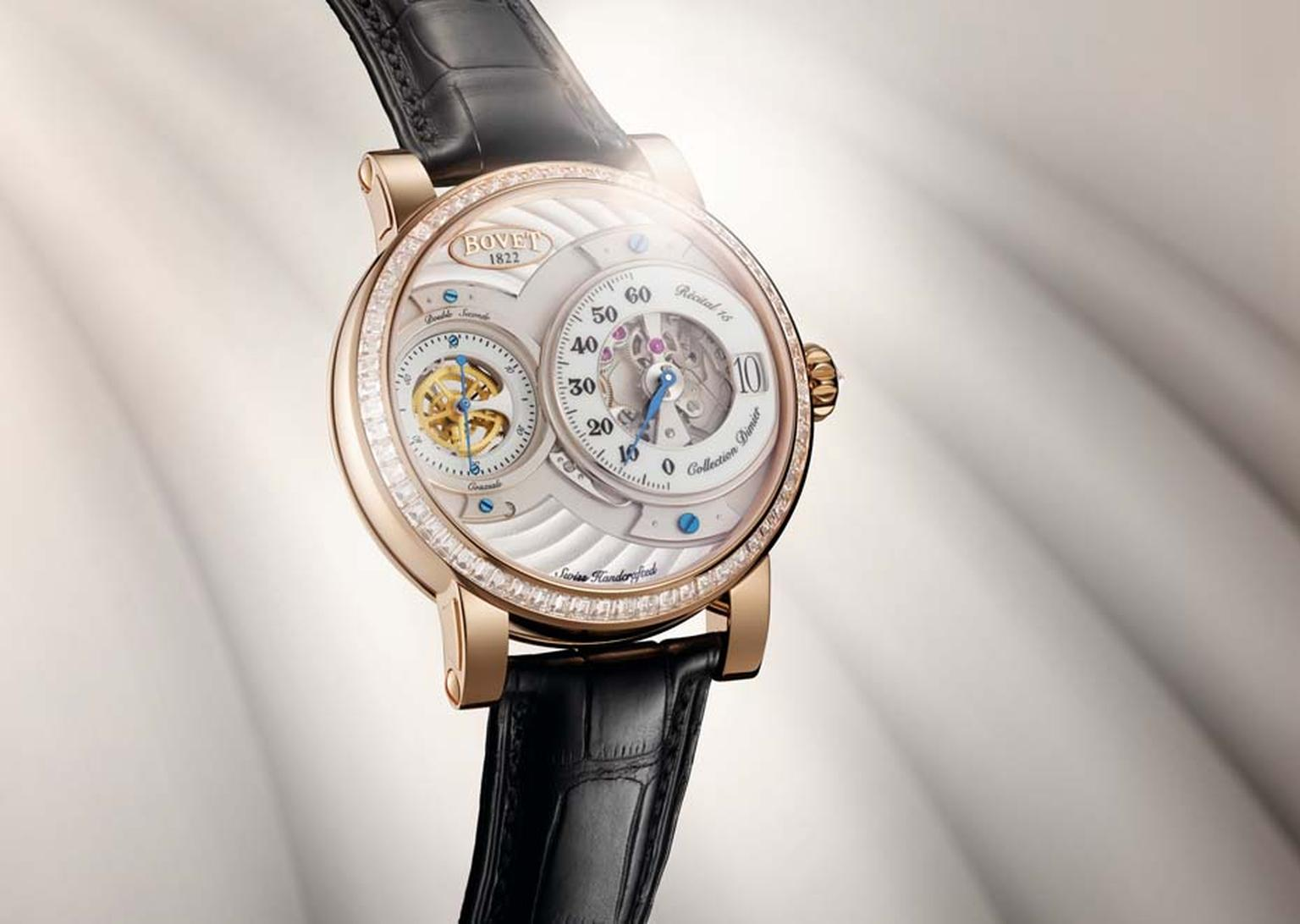 Bovet Recital 15 currently houses the Virtuoso 2, Bovet's in-house crafted calibre with a five-day power reserve.