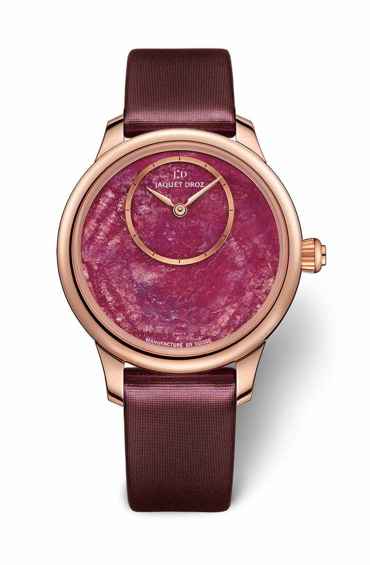 The dial on Jaquet Droz' Minerals collection Petite Heure Minute watch is a slice of ruby known as a ruby heart, a mineral tinted by chrome that ranges from pale pink to hot red.