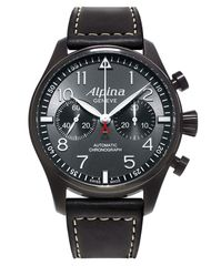 A relaunch of one of its military-issue pilot's watches, Alpina's new Swiss Pilot Automatic watch features black PVD coating and an automatic bi-compax chronograph movement.