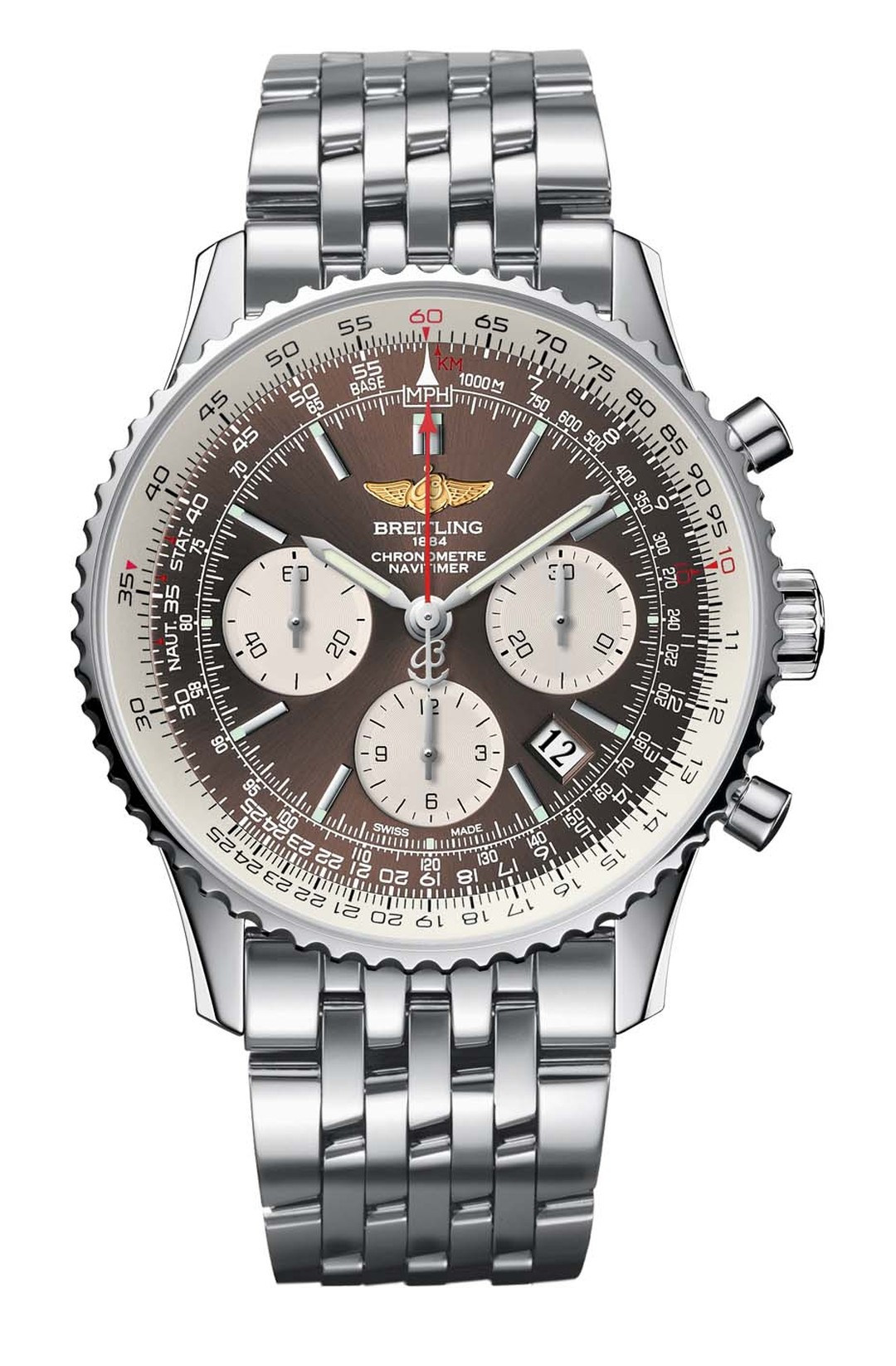 Breitling's limited-edition Navitimer PanAmerican pilot chronograph features a new brown dial and in-house movement. It remains true to the original 1953 model, with an inner slide rule bezel that offers a plethora of calculation possibilities, including