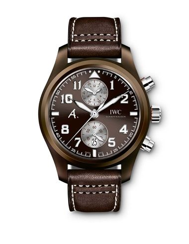 "IWC's Pilot's Edition ""The Last Flight"" watch, with an automatic chronograph movement and an in-house calibre 89361, is now available in brown ceramic, which is lighter than steel and practically scratch resistant"