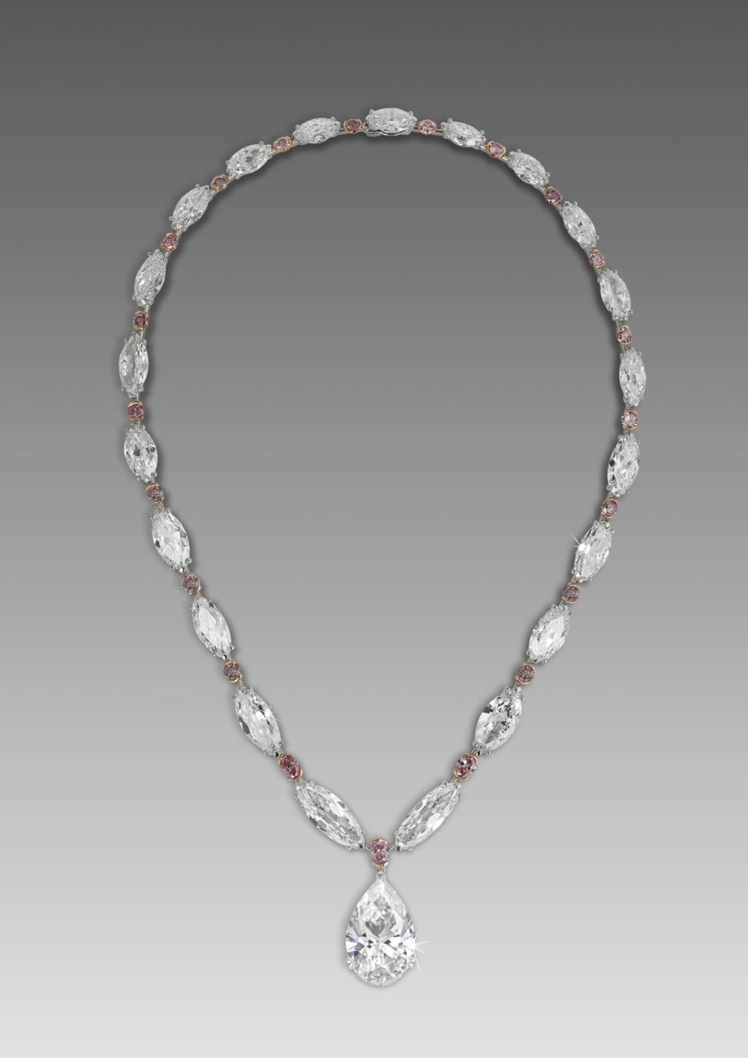 David Morris 22.22ct D IF pear-shaped diamond drop on an antique marquise-cut white diamond and brilliant-cut pink diamond necklace.