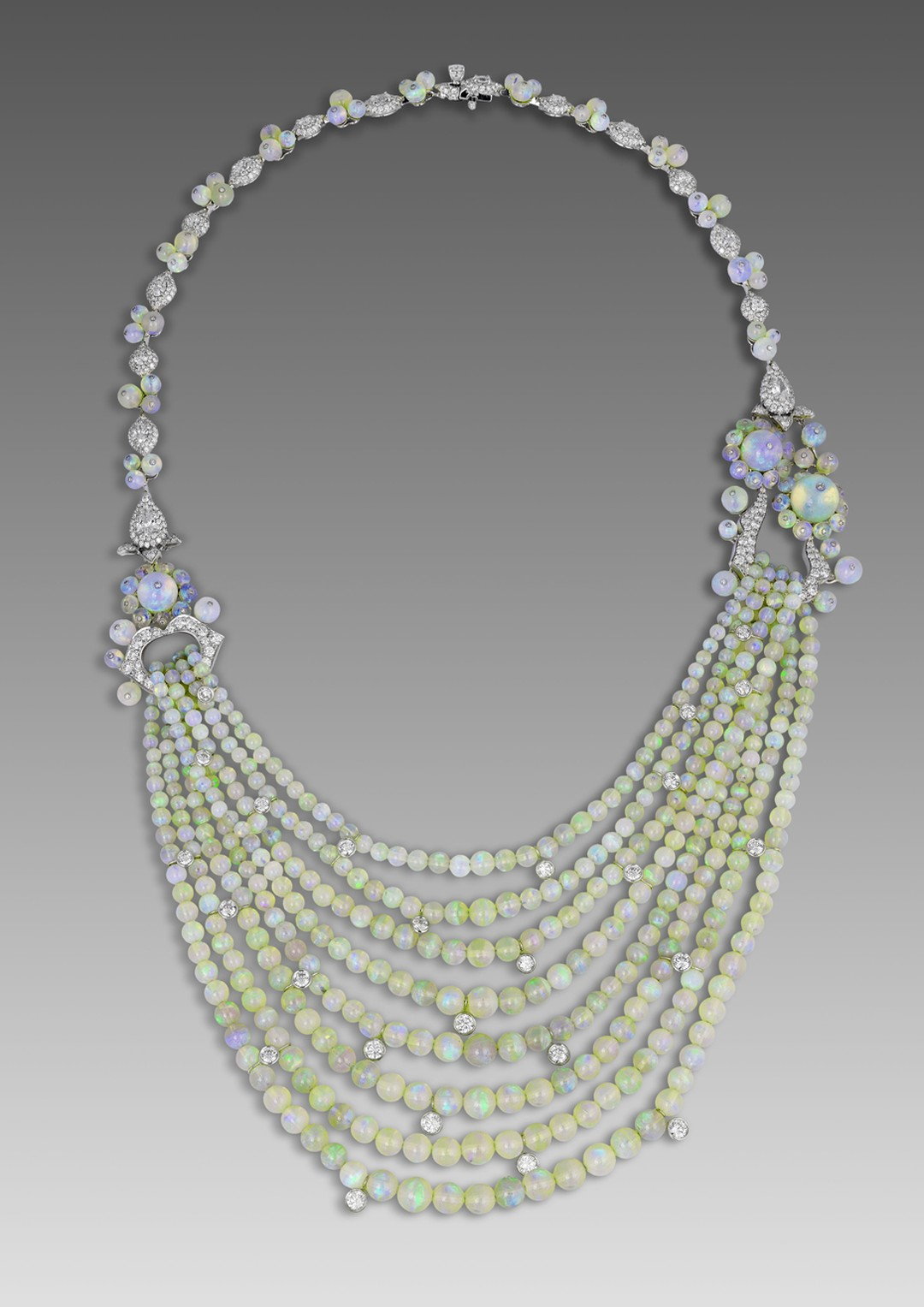David Morris necklace with opal beads from the 1920s alongside brilliant-cut diamonds.