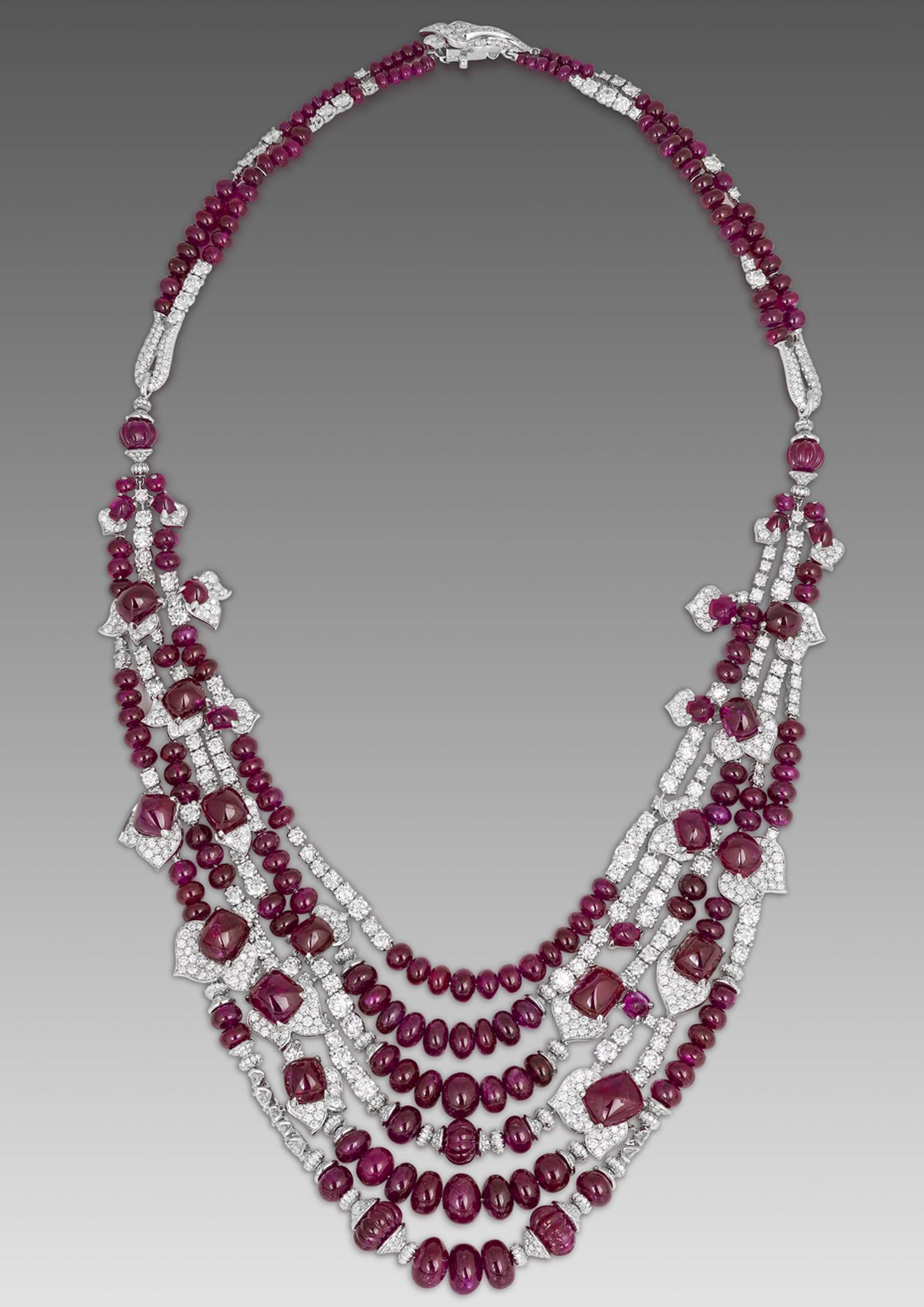 David Morris Burmese ruby and diamond necklace featuring ruby cabochons and beads.