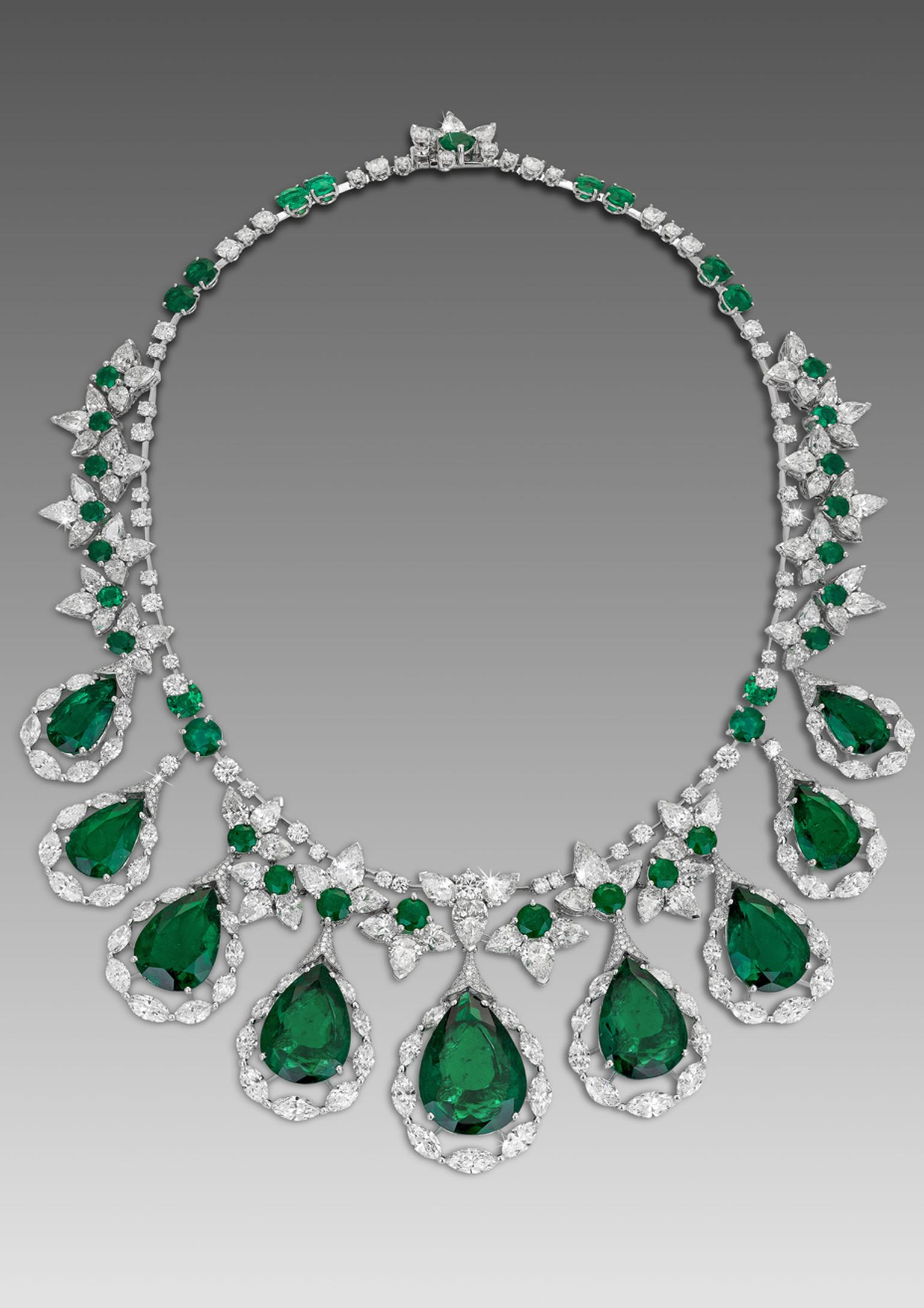David Morris Fan necklace featuring pear and round shaped Colombian emeralds with marquise and pear-shaped diamonds.