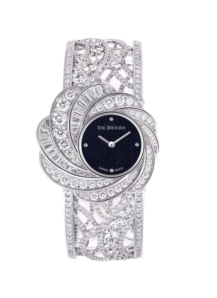 De Beers Aria High Jewellery Unique watch featuring an aventurine dial and pavé, brilliant and baguette-cut diamonds.