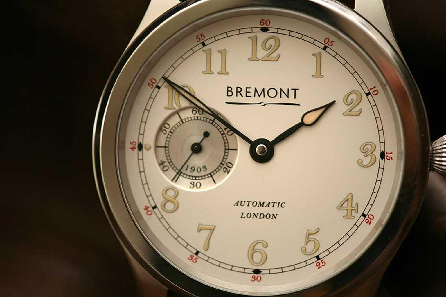 The white gold model of Bremont's new Wright Flyer watch with a white dial, limited to 50 pieces.