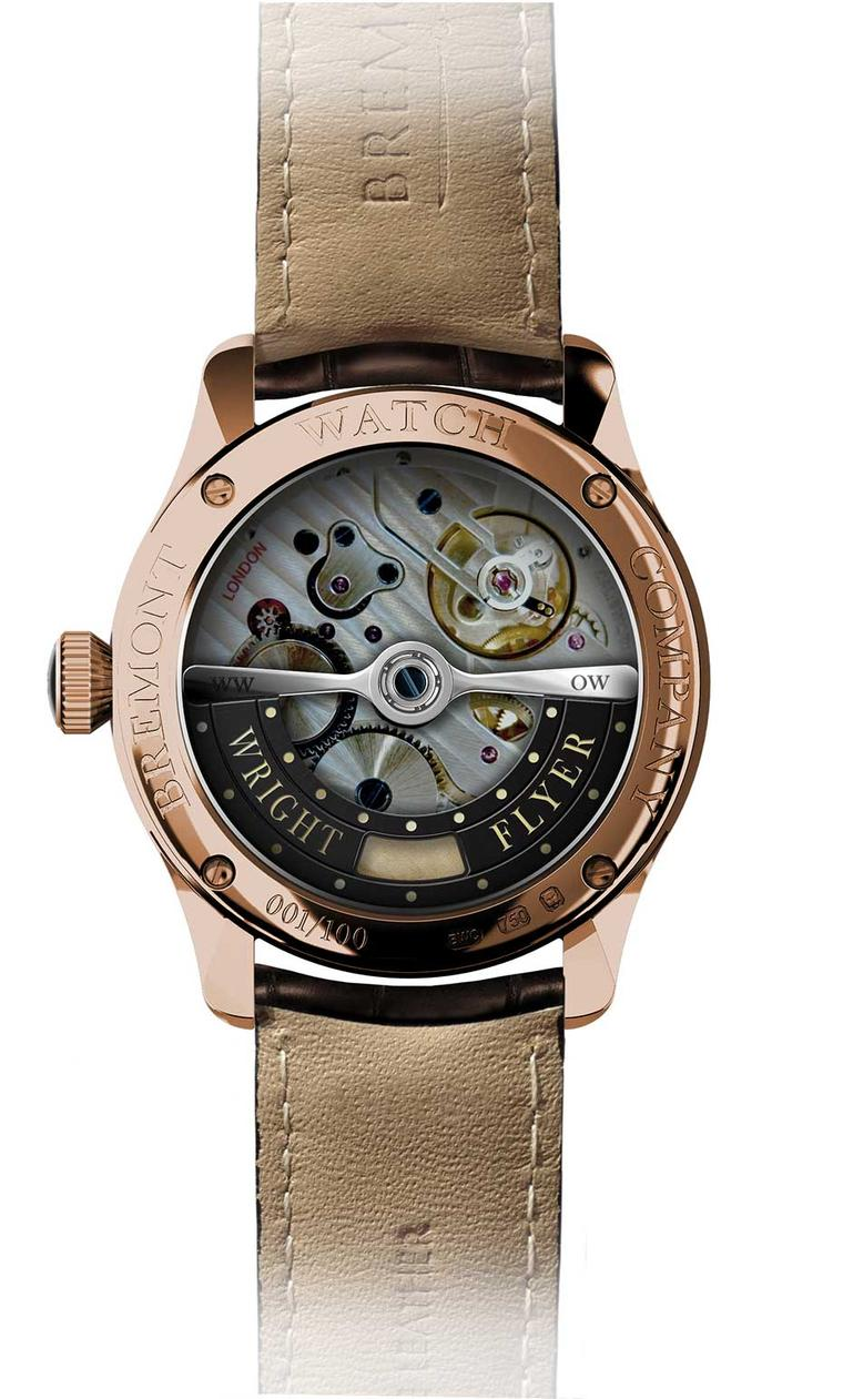 The reverse of the Bremont The Wright Flyer in rose gold, launched on 23 July 2014. The calibre - the first to be built in-house by British watchmaker Bremont - is stamped 'London'.