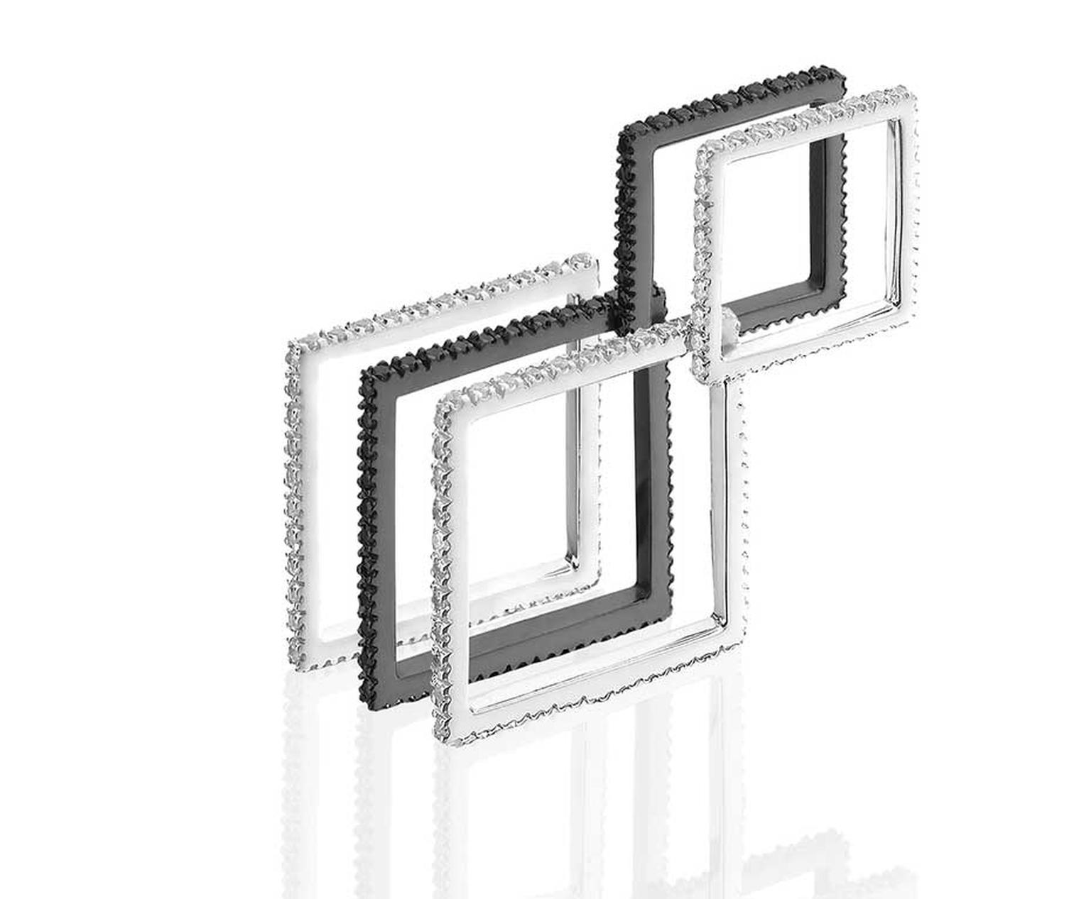 MyriamSOS Naked Square Double Square eternity rings in rhodium black silver with black spinels and white palladium gold with diamonds.
