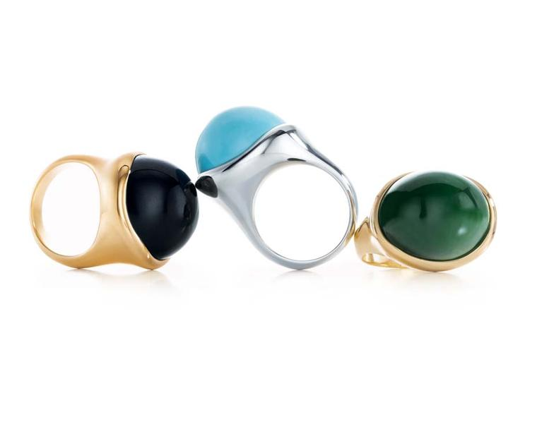 Elsa Peretti for Tiffany Cabochon rings in gold and silver set with hand-carved black jade, turquoise and green jade.