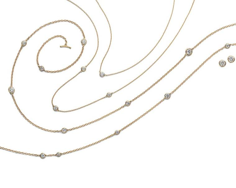 Elsa Peretti for Tiffany Diamonds by the Yard necklaces and earrings in yellow gold.