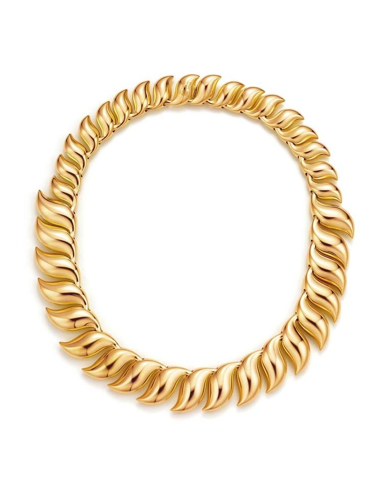 Elsa Peretti for Tiffany Feather necklace in yellow gold.