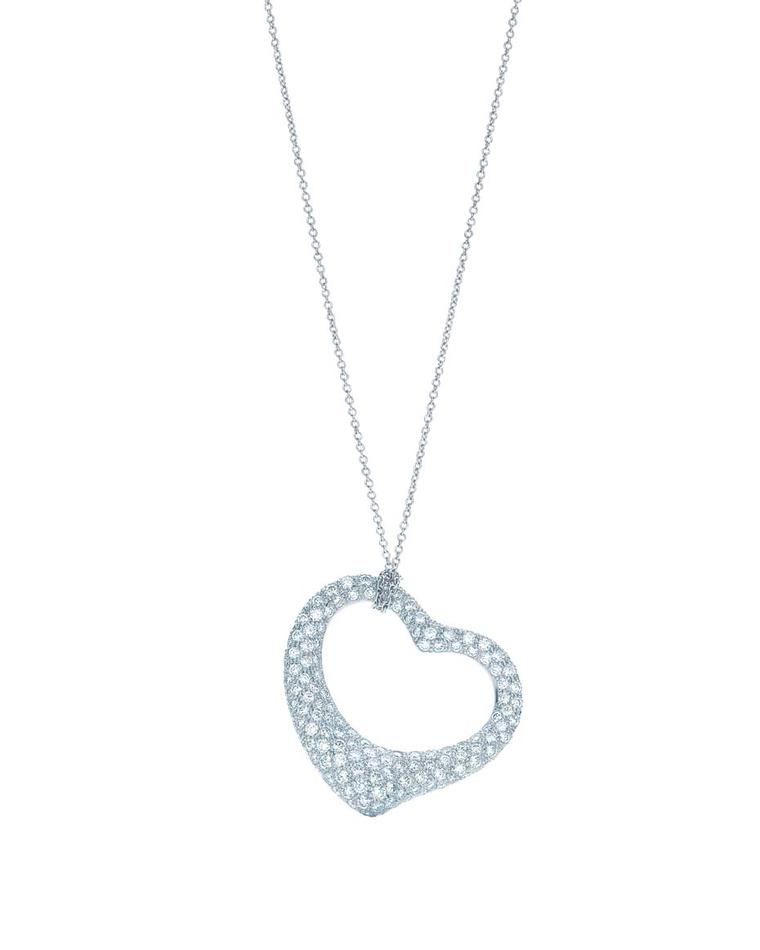 Elsa Peretti for Tiffany Open Heart pendant in platinum with pavé diamonds.