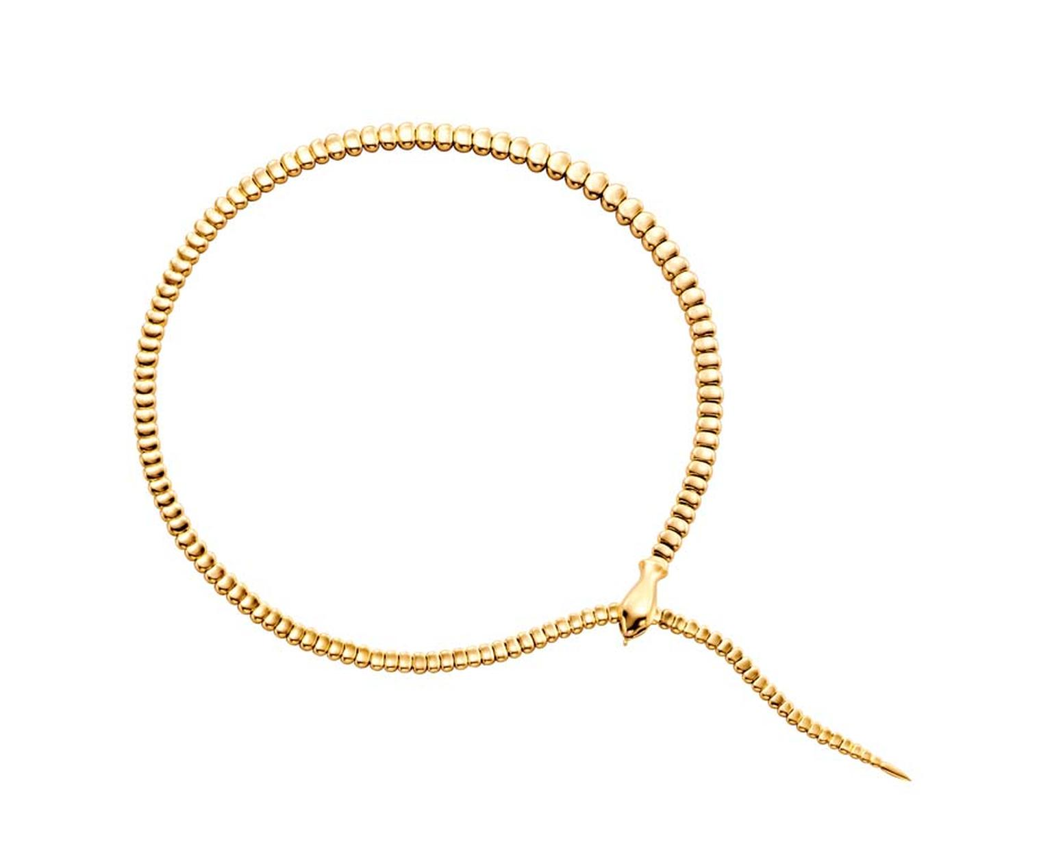 Elsa Peretti for Tiffany Snake necklace in yellow gold.