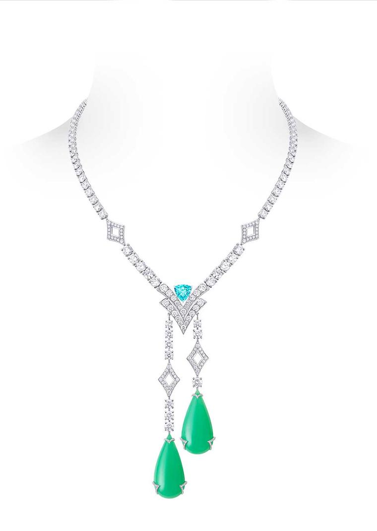 Louis Vuitton Acte V Metamophosis high jewellery necklace featuring two chrysoprase drops, a tourmaline and diamonds.