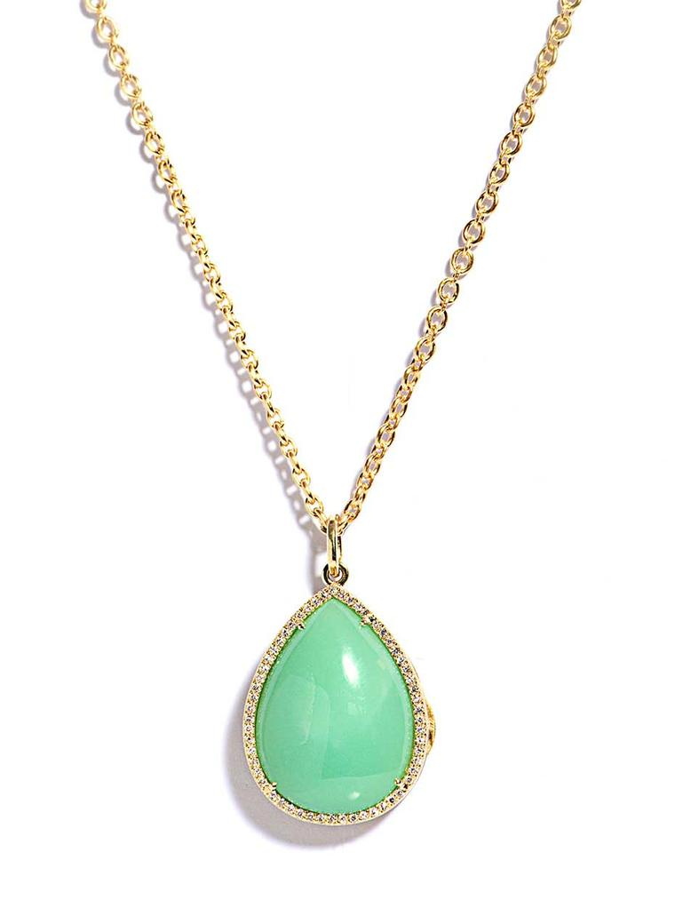 Irene Neuwirth diamond and mint chrysoprase locket necklace.