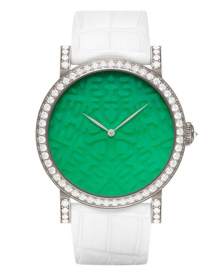DeLaneau's Rondo Double Happiness watch in white gold, from the Strength collection, with a face hand-carved from chrysoprase.