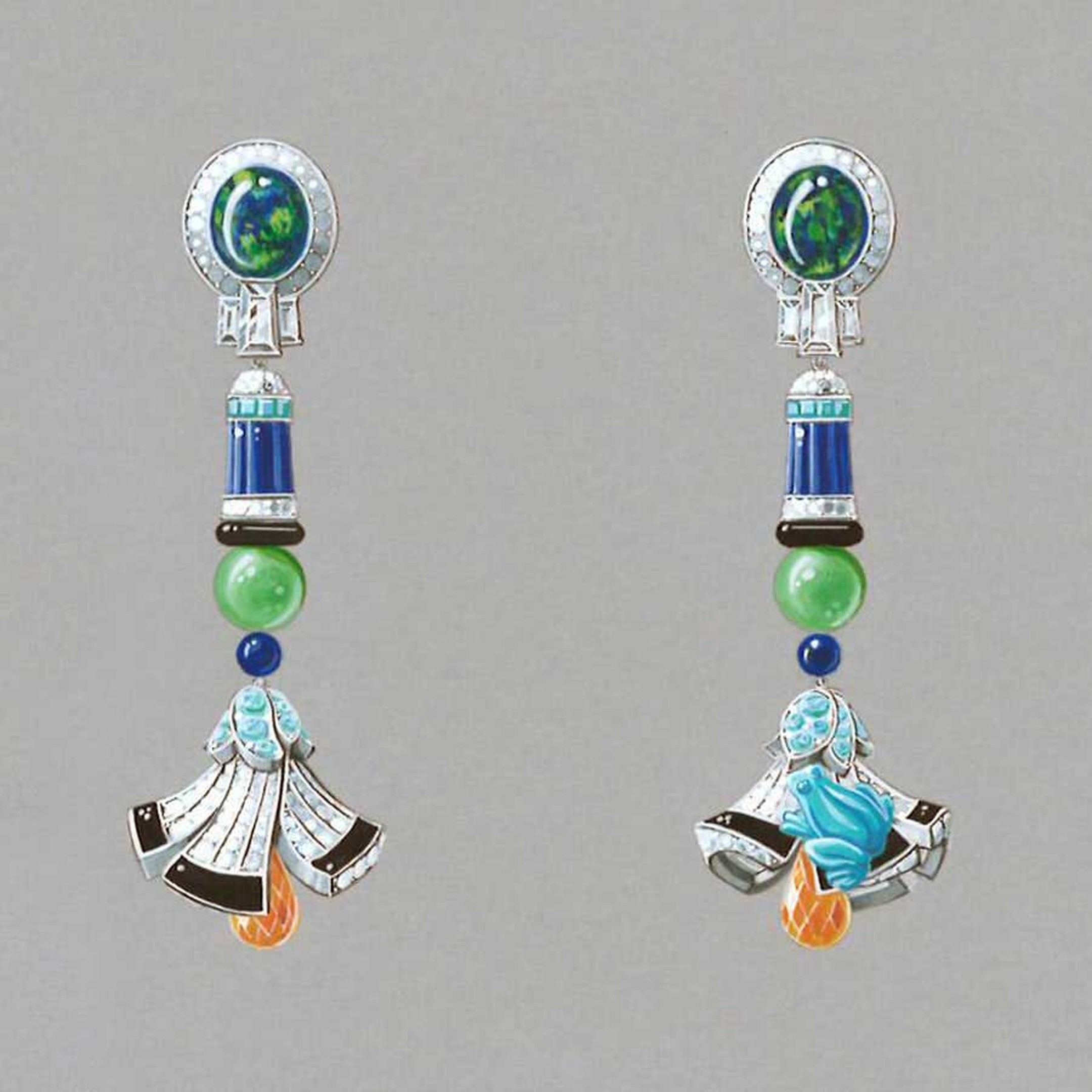 Van Cleef & Arpels Palais de la chance High Jewellery collection Lucky Legends Everlasting Light long earrings featuring white gold, diamonds, tourmalines, onyx, lapis lazuli, chrysoprase, turquoise, emeralds, Mandarin garnets and 2 black opals weighing 5