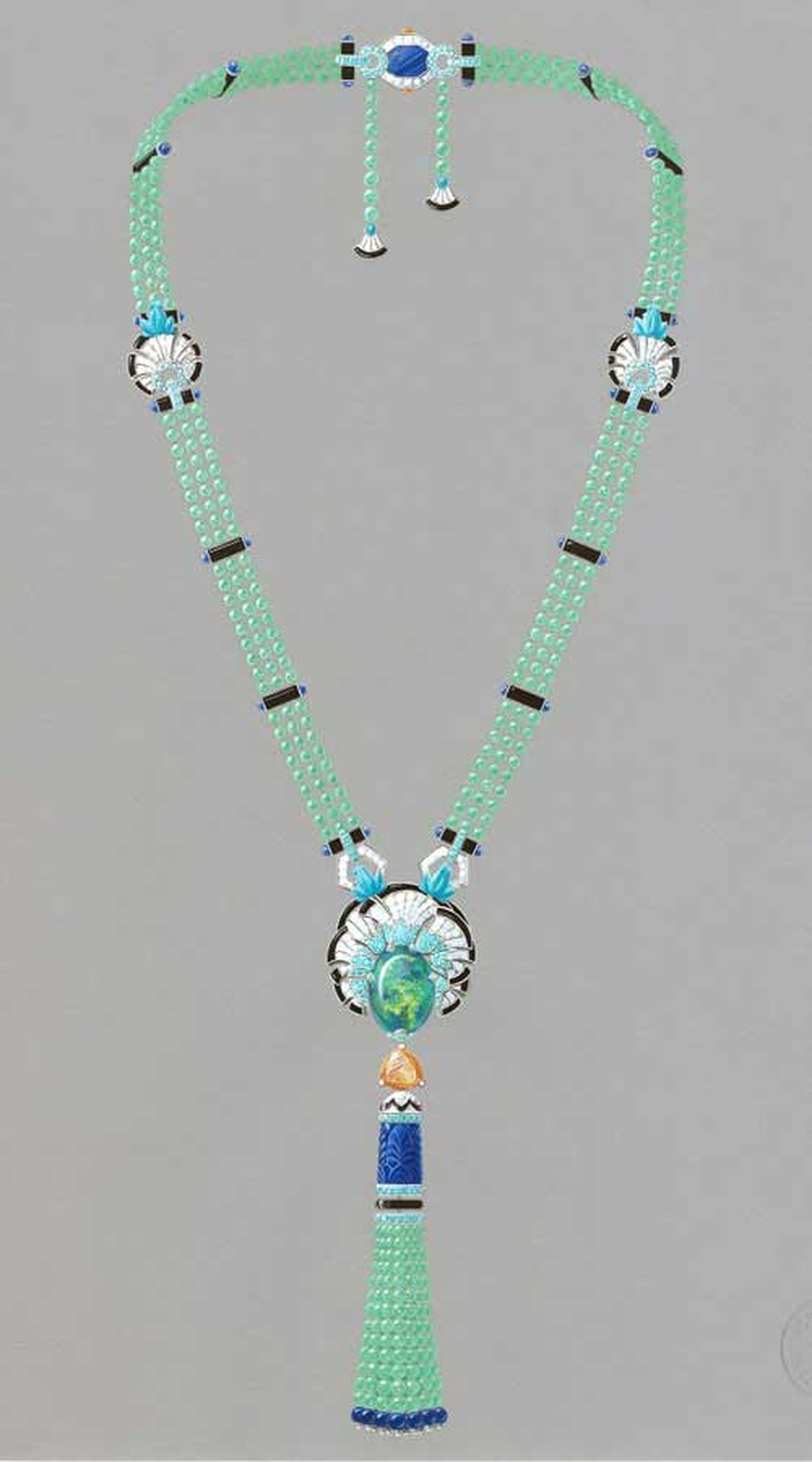 Van Cleef & Arpels Palais de la chance High Jewellery collection Lucky Legends Everlasting Light necklace featuring white gold, chrysoprase, Mandarin garnets, lapis lazuli, sapphires, diamonds, tourmalines, onyx, turquoise, emeralds and one 23.64ct. caboc