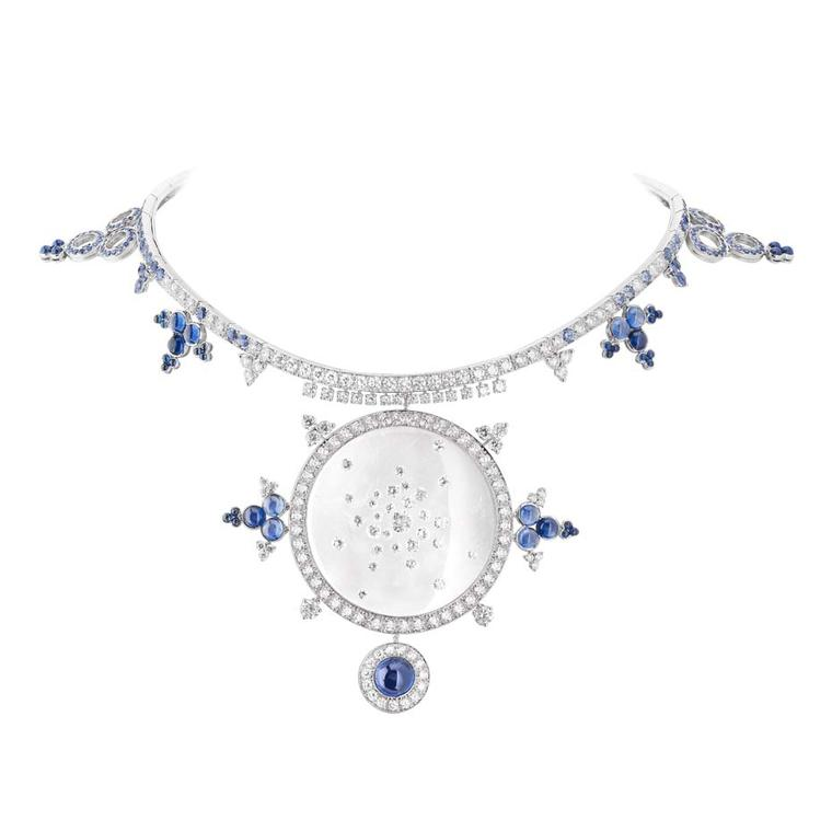 Boucheron Rives du Japon collection Ricochet necklace, crafted from rock crystal, diamonds and sapphires, reminds us of the fleeting circles created by pebbles when hitting the water.