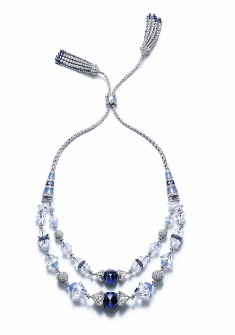 Boucheron Trésor de Perse necklace featuring two strings of diamonds that run through rock crystal and join in the centre with two cabochon sapphires.