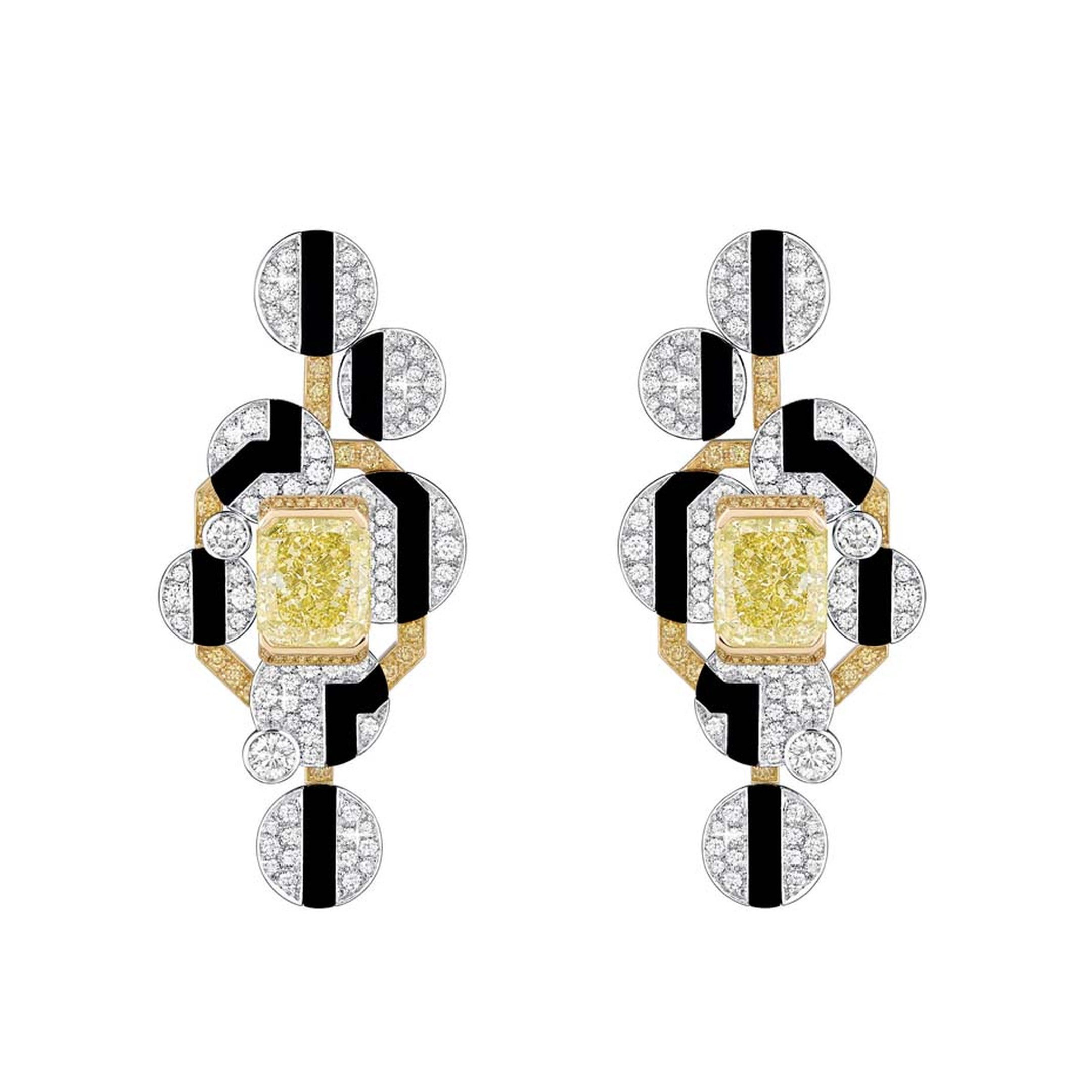 Combining the clean lines of avant-garde geometry with mesmerising mosaics of colour, Chanel's Café Society Morning in Vendome earrings feature circles of brillliant-cut white and yellow diamonds and two emerald-cut yellow diamonds.