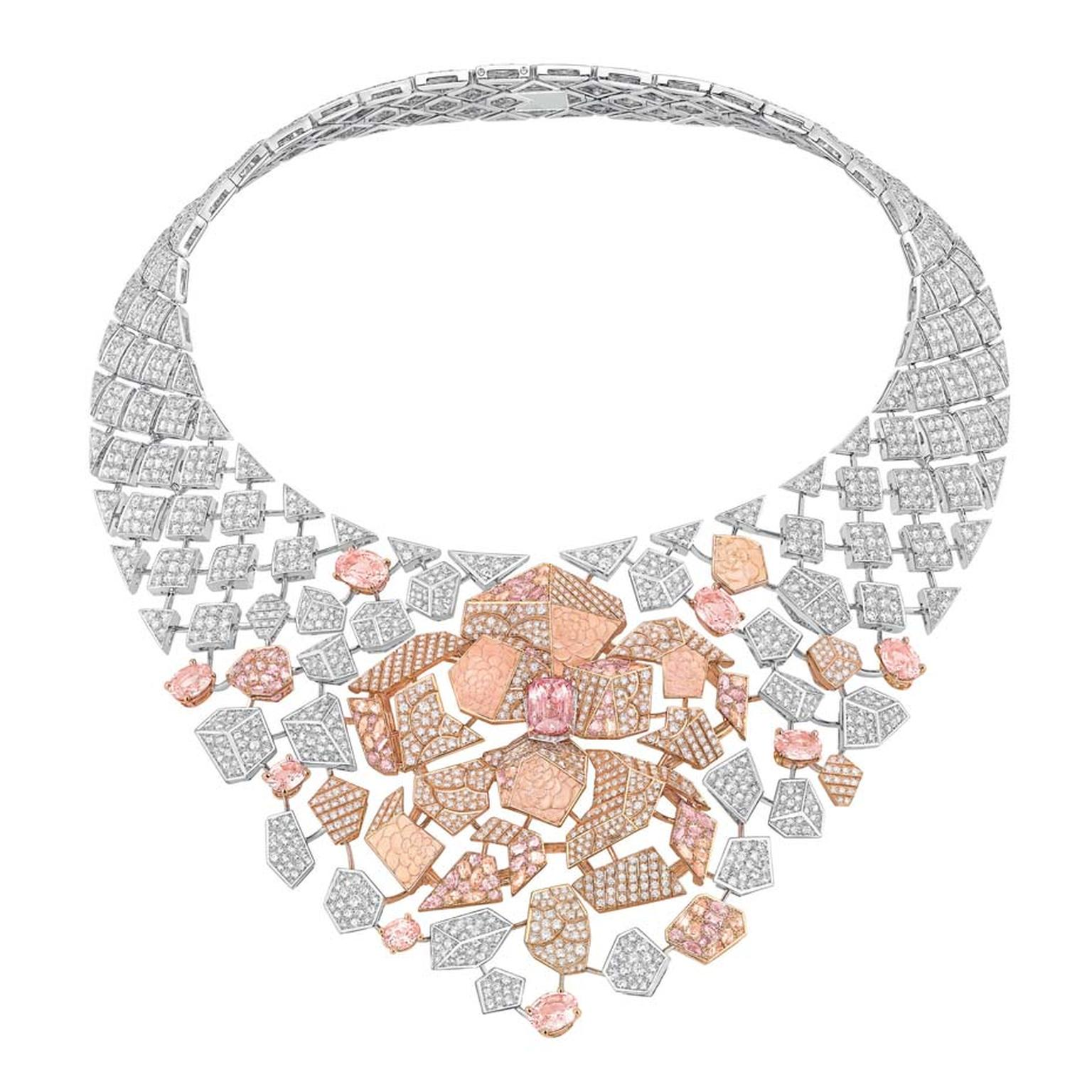 Chanel Café Society Sunset necklace set with padparadscha sapphires
