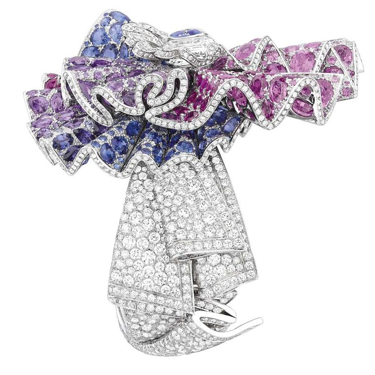 Dior Ailée Diamant bracelet in white gold, with diamonds, purple and pink sapphires and rubies.