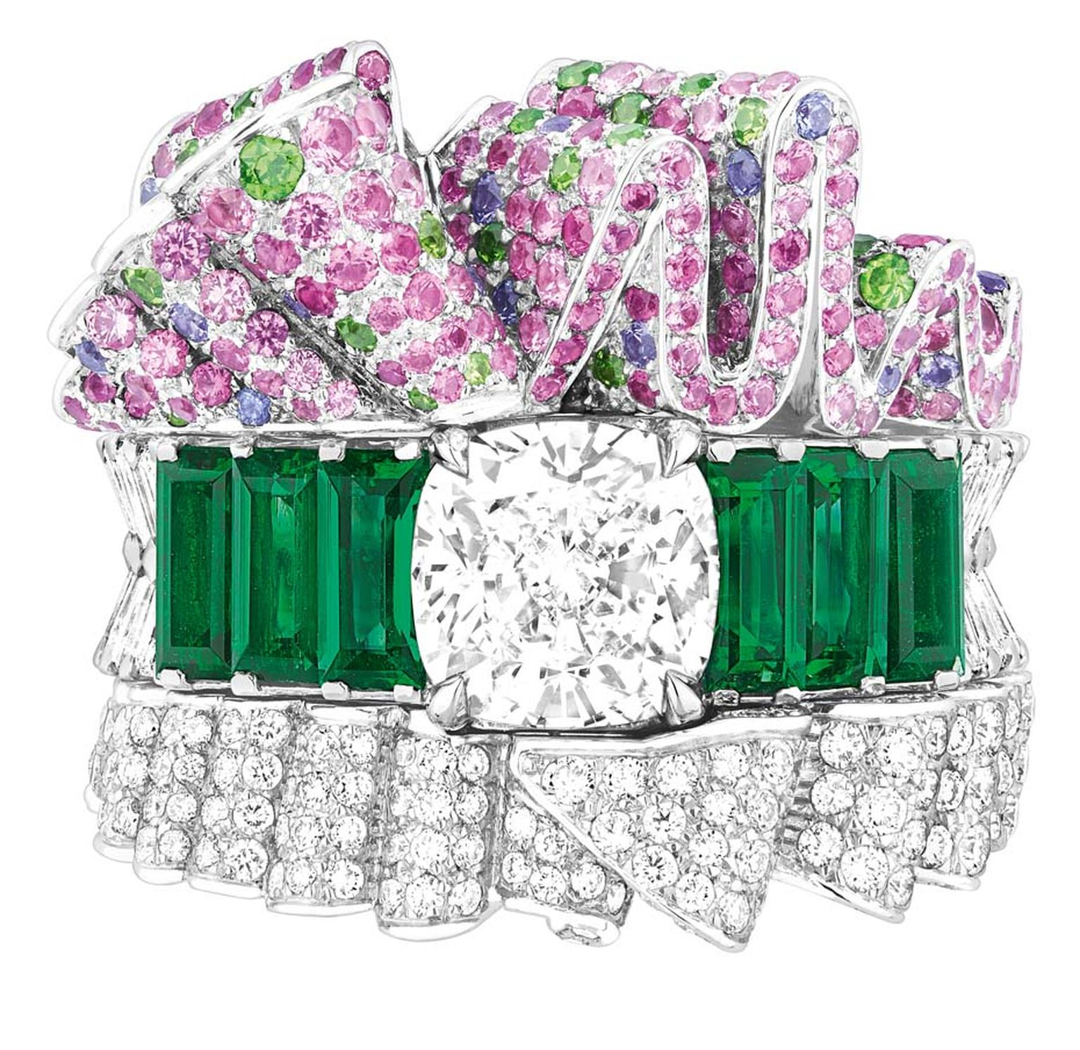 Dior Bar en Corolle Diamant ring in white gold with diamonds, pink and purple sapphires, emeralds and demantoid garnets.