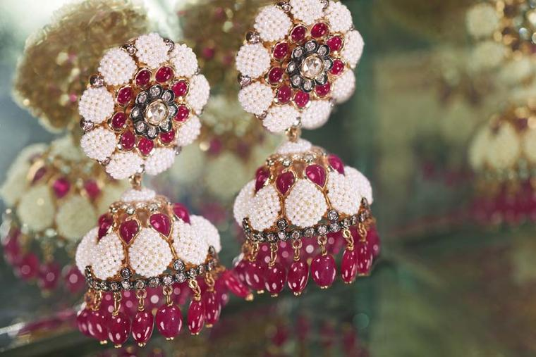 Moksh Taantvi collection Jhumkas earrings featuring rubies, brilliant and rose-cut diamonds, and fine Japanese keshi pearls.