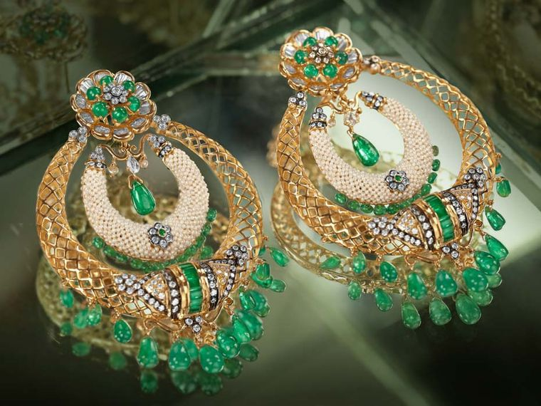Moksh Taantvi collection Chand Balis earrings set with Zambian emeralds, baguette, brilliant and round-cut diamonds and fine Japanese keshi pearls.