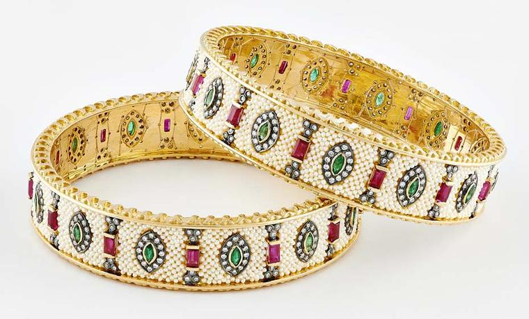 Moksh Taantvi collection Kangan (bangles) with Zambian emeralds, rubies, brilliant and rose-cut diamonds and fine Japanese keshi pearls.